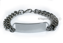 D- Style Travel and Personalized ID Bracelet with wide chain.