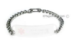 "Stainless Steel Bracelet chain (.2"" or 5 mm wide)."
