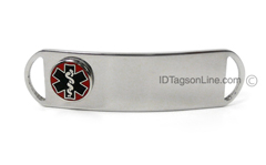 Premium Stainless Steel ID Tag with raised emblem, D - Style.