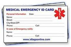 Single Medical ID wallet card.