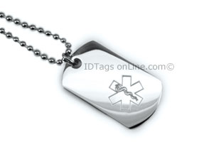 Premium Medical Mini Dog Tag with engraved medical Emblem.
