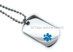 Premium Medical Mini Dog Tag with blue medical Emblem.