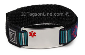 Stainless Steel Sport ID Bracelet with colored Medical Emblem