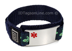 Double sided Stainless Steel Sport ID Bracelet, colored Emblem