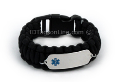 Black Paracord Medical ID Bracelet with Blue Medical Emblem.