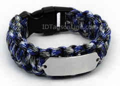 Blue Camo Paracord Sport and Travel ID Bracelet.