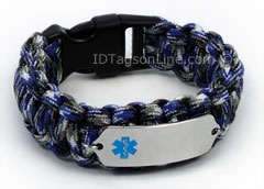 Blue Camo Paracord Medical ID Bracelet with Blue Medical Emblem.
