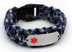 Blue Camo Paracord Medical Id Bracelet With Red Emblem