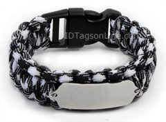 Zebra Paracord Sport and Travel ID Bracelet.