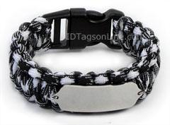 Zebra Paracord Medical Id Bracelet With Pink Emblem