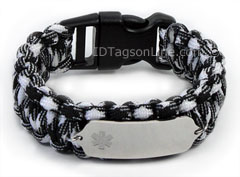 Zebra Paracord Medical ID Bracelet with Clear Medical Emblem.