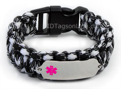 Zebra Paracord Medical Id Bracelet With Pink Emblem