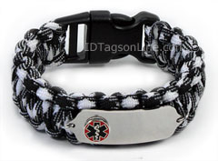 Zebra Paracord Medical Id Bracelet with Raised Medical Emblem.