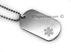 Premium Medical ID Dog Tag with clear emblem (6 lines engraved).