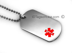 Medical Id Dog Tag with Red emblem