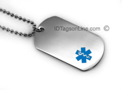 Premium Medical ID Dog Tag with Blue emblem (6 lines engraved).