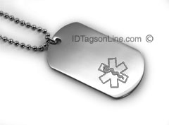 Premium Medical ID Dog Tag with Engraved emblem (6 lines).